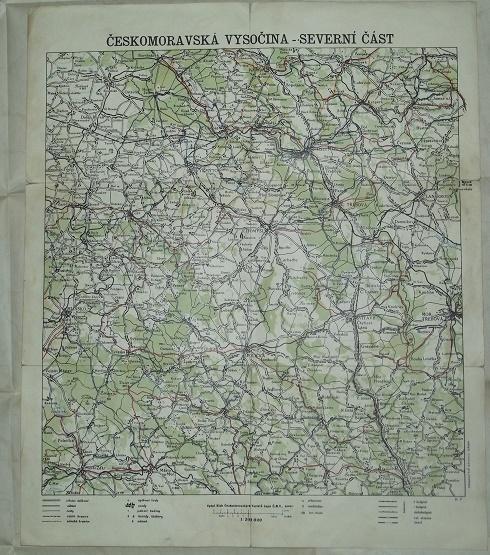 Českomoravská vysočina 32x39cm - mapa - Antikvariát