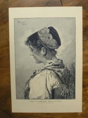 Dřevoryt 1890 - Děvče z údolí - (D430)