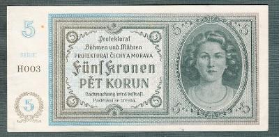 5 korun 1940 serie H003 NEPEROROVANA stav 1-