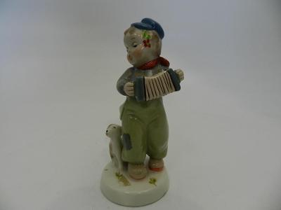 Chlapec s Harmonikou Tulák Štěně Royal Dux Czechoslovakia