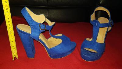 Dámská modrá vyšší  obuv vel.40 , délka 24,5cm , podp.12,5cm