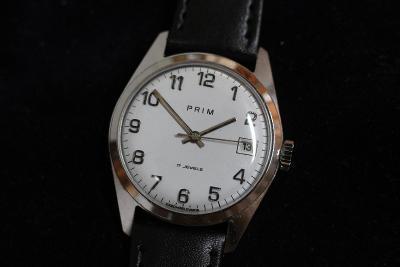 pánské hodinky PRIM 68, černé čísla na číselníku - raritka, TOP STAV