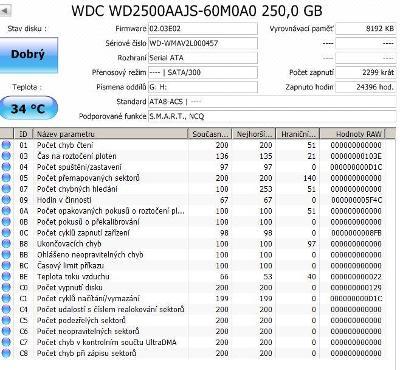 """3.5"""" disk do PC 250GB SATA2 Caviar Blue  rychlý 7200 o. tichý a odolný"""