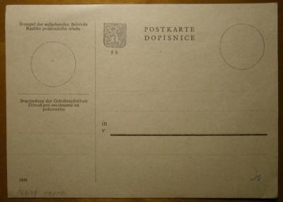 1939 B+M Postkarte - Dopisnice /čistá