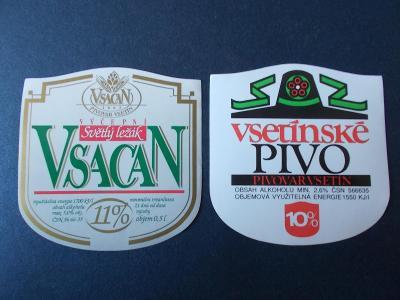 Etiketa nálepka stará sada pivo Vsacan Vsetín alkohol  pivovar už není