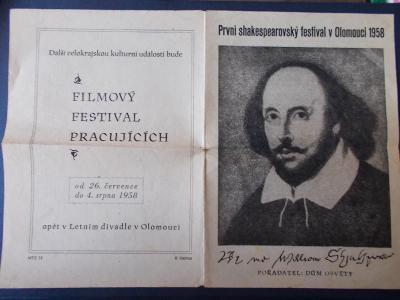 Starý program divadlo slavnosti Shakespeare faksimile Olomouc 58 ceník
