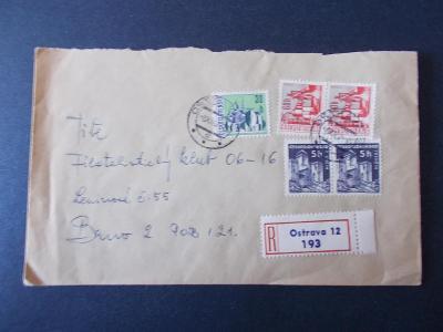 Ostrava 12  obálka dopis R nálepka doporučeně 1967 dekorativní  známky