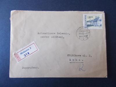 Obálka dopis R nálepka doporučeně 1967 dekorativní Hodonín 3