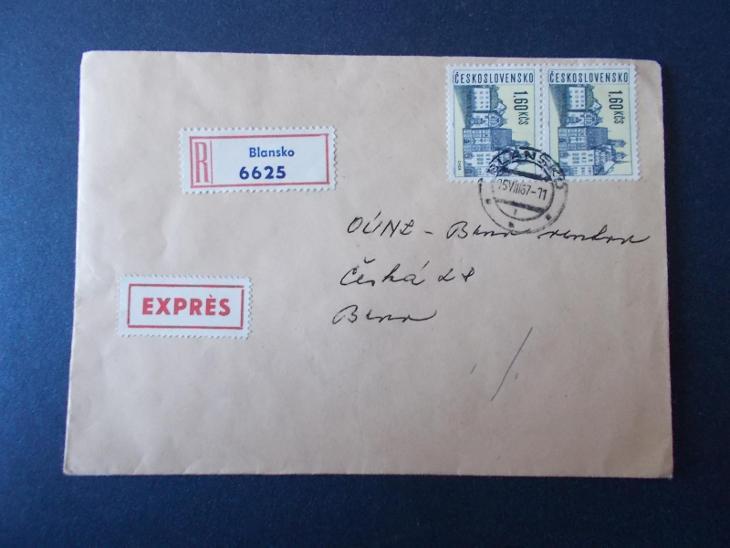 Obálka dopis R nálepka doporučeně 1967 dekorativní Blansko expres  - Filatelie
