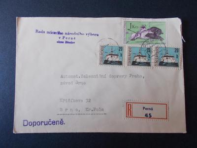 Obálka dopis R nálepka doporučeně 1967 dekorativní Perná 45 Mikulov
