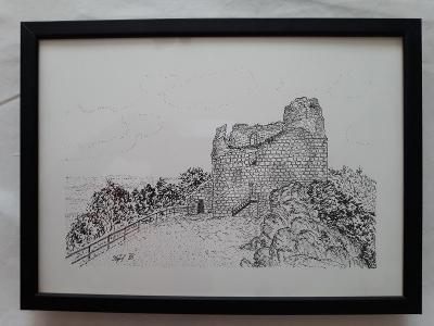 Přimda - zřícenina hradu - perokresba