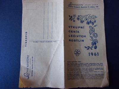Léčivé rostliny výkup Šumperk leták reklama ceník dle druhů !! 1961