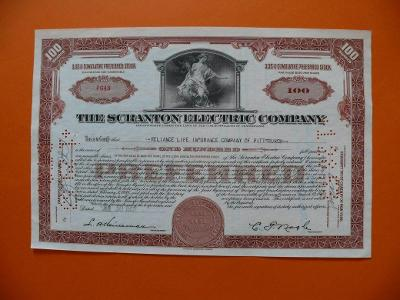 Akcie THE SCRANTON ELECTRIC COMPANY hnědá 1951