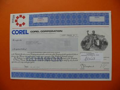 Akcie COREL CORPORATION program Corel Draw modrá 2002 VZÁCNÁ !!!