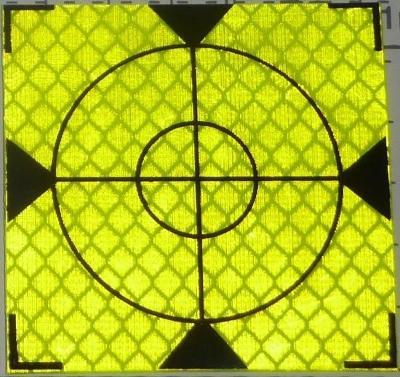 Odrazný štítek samolepící 100mm x100mm (1ks, sel.) pro total station