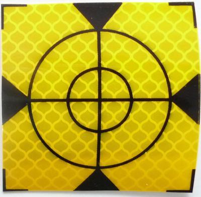 Odrazný štítek samolepící 100mm x100mm (1ks, žlutý) pro total station