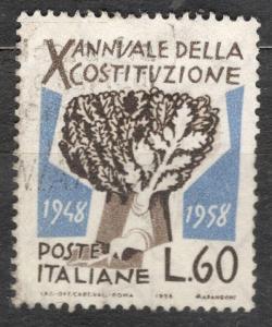 Itálie 1958  Mi 1008 ústava republiky 10 let, košatý strom