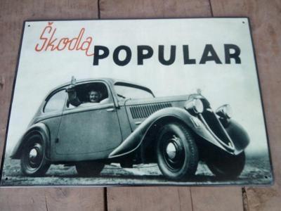 plechová cedule- Škoda Populár