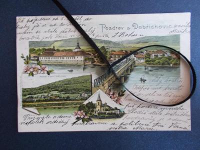 Praha západ Dobřichovice nádraží most Vltava litografie koláž