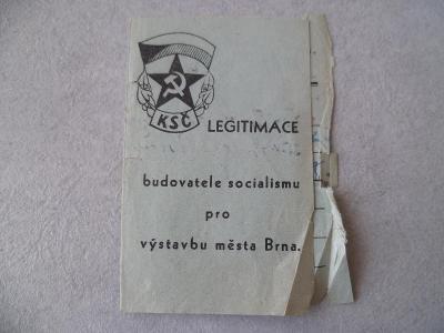 Doklad Průkazka legitimace Brno Znak KSČ Socialismus