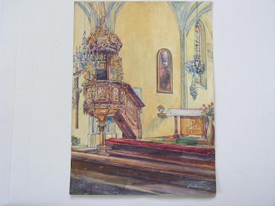 Pavel Šneberger - akvarel  - vnitřek gotického kostela - Písek ?