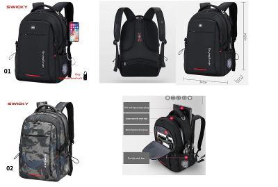 SWICKY Batoh s USB port - cestování / škola / laptop / UNISEX 2 druhy