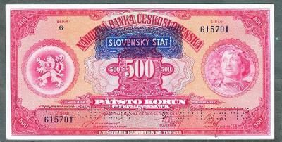 500 korun 1929 SLOVENSKÝ ŠTÁT ZRCADLOVÝ SPECIMEN stav 1-