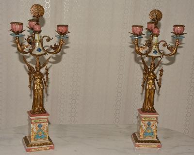 Zámecké svícny s bohyněmi-porcelán+bronz - krásné