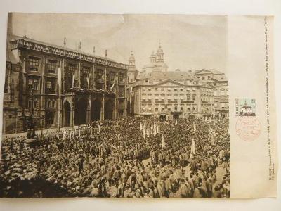 A4  II. SLET Staroměstská radnice hold RAZÍTKO 28.10.1968 50 LET ČSR