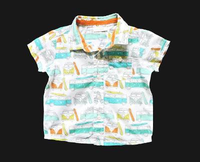 Plátěná košile s autobusy  100% bavlna NEXT 3-6m