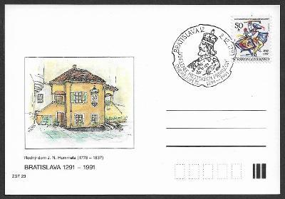 Dopisnice ZFS J. N. Hummel pamětní raz. Bratislava 1991 /ZCS-PDV.32