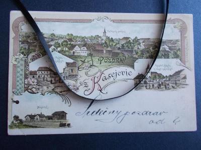 Plzeň jih Kasejovice litografie nádraží pošta Sbírkový pohled 1899 !