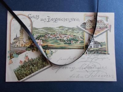 Šumava Klatovy Sušice Kašperské Hory litografie koláž hrad Karlsburg