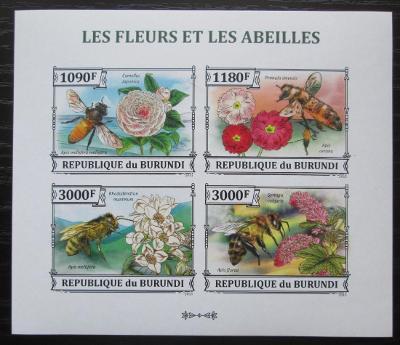 Burundi 2013 Včely a květiny neperf. Mi# 3288-91 B Bogen 0543
