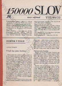 150 000 slov Index VIII/89/22 exil 1989
