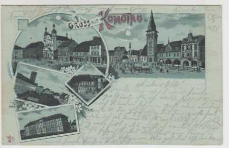Chomutov (Komotau), náměstí, gymnázium, kasárny, r