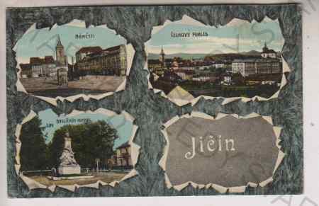 Jičín, náměstí, celkový pohled, Havlíčkův pomník,