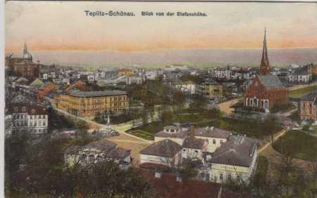 Teplice / Teplitz, blik von der Stefanshohe, barev