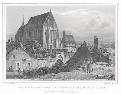 Znojmo chrám sv. Mikuláše, Lange, oceloryt, 1842