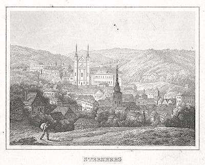 Šternberk na Moravě, oceloryt, (1840)