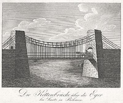 Cheb řetězový most, Medau, mědiryt, 1827