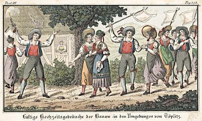Teplice kroj a svatební zvyky, kolor mědiryt, 1823
