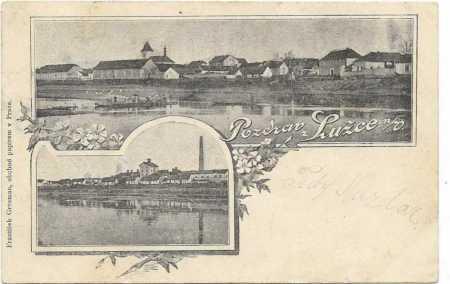 Lužec nad Vltavou - dílčí pohled - přívoz, továrna