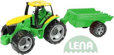 Lena Traktor plastový zelený set s přívěsem 94cm