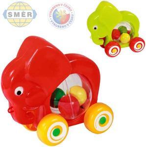 Směr Slon baby jezdící s míčky tahací 2 barvy