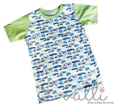 Zeleno-modré tričko s autíčky vel. 74-92