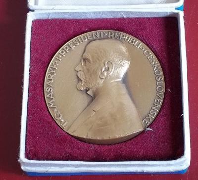 Šejnost medaile-president T.G.Masaryk 60mm bronz ,etue