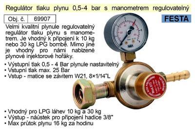 Regulátor tlaku plynu 0,5-4bar s man.regul.vhodný pro plynové hořáky
