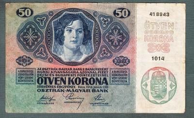 50 korun 1914 serie 1014 bez přetisku