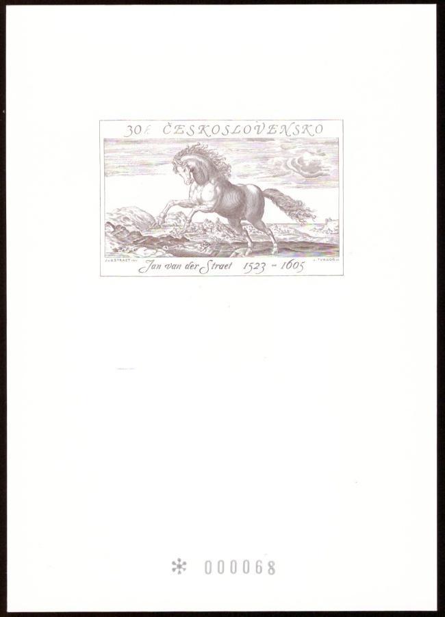 ČR - PŘÍLEŽITOSTNÝ TISK, JAN VAN DER STRAET, KŮŇ, ČÍSLOVANÝ (T9362) - Filatelie